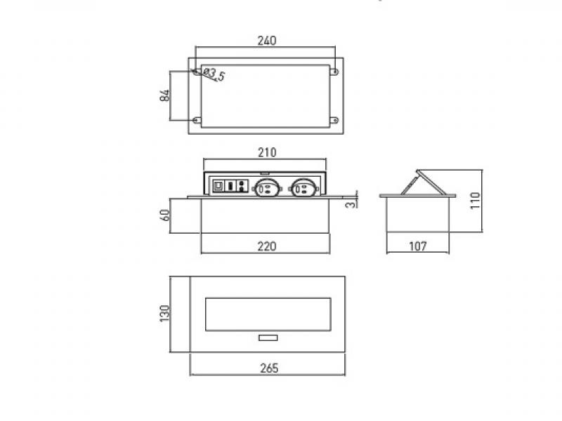 Встраиваемая выдвижная розетка в столешницу AE-PB02GS-53