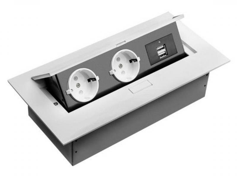 Встраиваемая выдвижная розетка в столешницу AE-PBU02GS-10