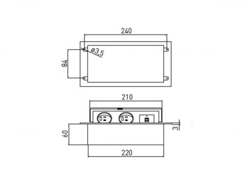 Встраиваемая выдвижная розетка в столешницу AE-PBU02GS-20