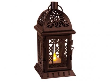 светильник декоративный led с таймером 20 см пластик коричневый