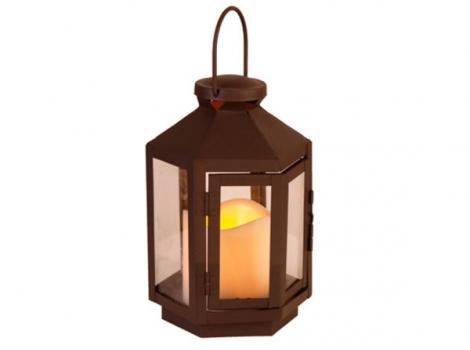 светильник декоративный led с таймером 20 см металл коричневый