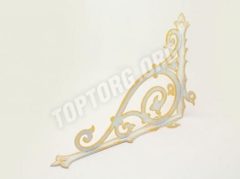 декоративный кронштейн для полки белый с золотой патиной