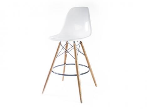 барный дизайнерский стул eames dsw белый глянцевый