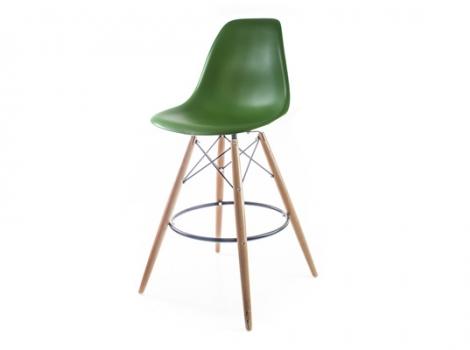 темно-деленый барный дизайнерский стул eames dsw