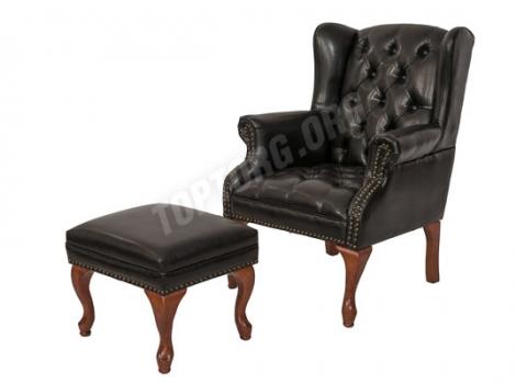 Дизайнерское кресло Wingback чёрная кажа