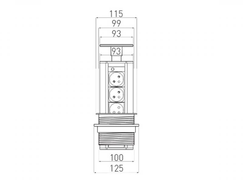 Встраиваемая выдвижная розетка в столешницу - GTV AE-BPW3GU-20