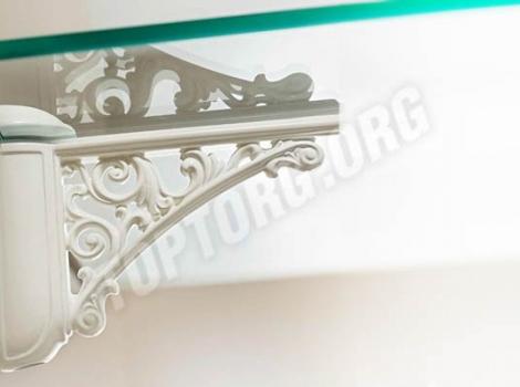 Кронштейн для полки (95х125) белый глянец