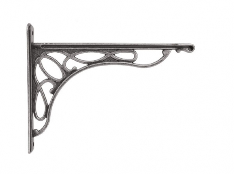 кронштейн для полки merletto отделка серебро античное малый