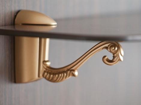 Кронштейн для полки пеликан классический отделка золото матовое