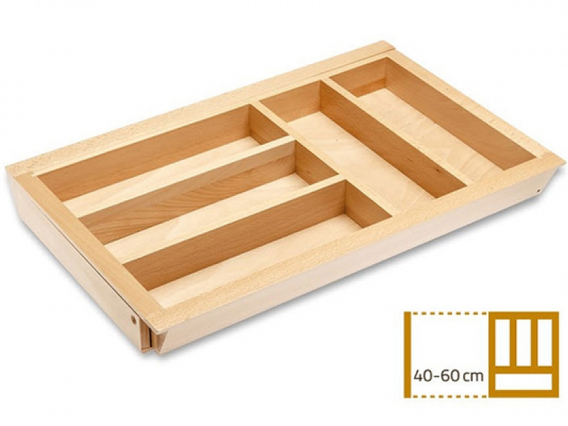 Раздвижной деревянный лоток для столовых приборов