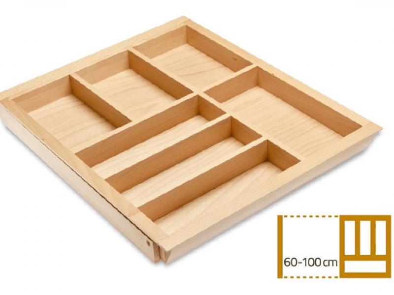 Раздвижной деревянный лоток для столовых приборов в ящик 60-100 см