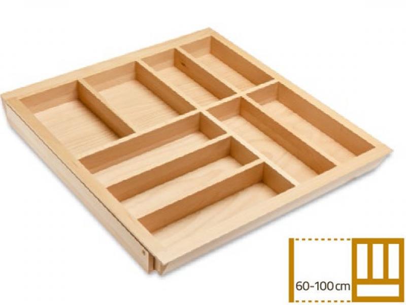 Раздвижной деревянный лоток для столовых приборов в ящик 60-100 см, глубина 50 см