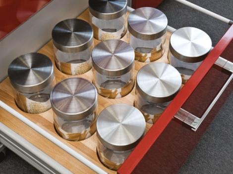 лоток для столовых приборов с банками в комплекте