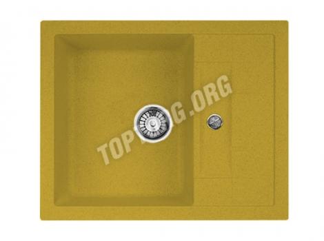 прямоугольная мойка из искусственного камня, цвет желтый