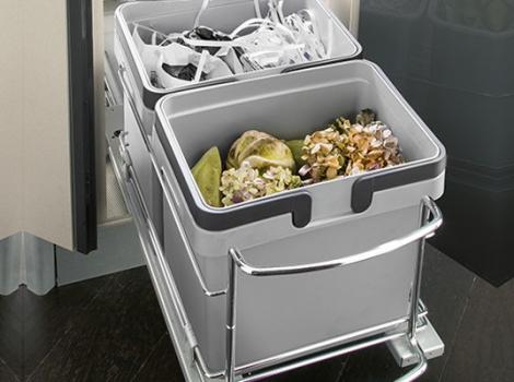 Система сортировки мусора (поворотная) с отсеками для хранения, в ящик от 900х900 мм