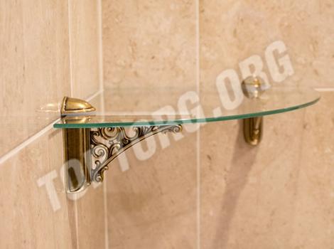 Угловая стеклянная полка в ванную