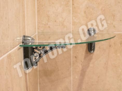 Угловая стеклянная полка для ванной