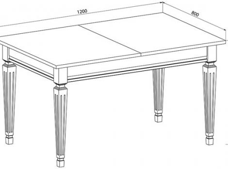 Стол кухонный раскладной 1200 х 800 черный с серебряной патиной