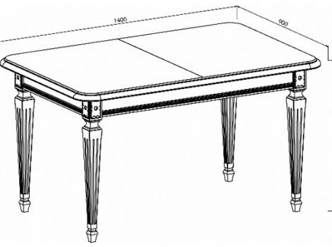 Стол кухонный раскладной 1400 х 900 (Белый, патина золото)