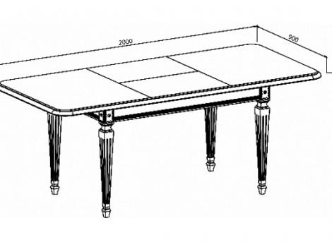 Стол кухонный раскладной 1400 х 900 Белый, патина серебро