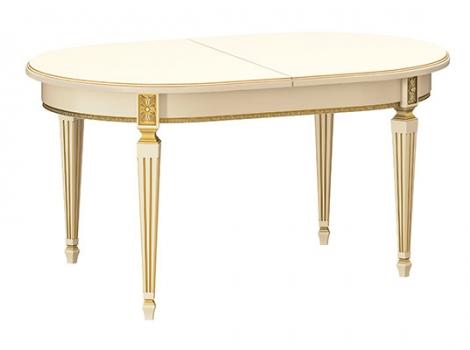 овальный белый стол с золотой патиной