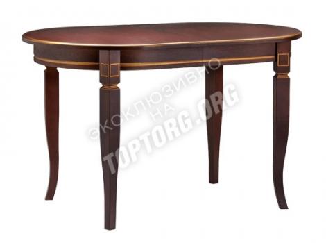 овальный обеденный стол с золотой патиной