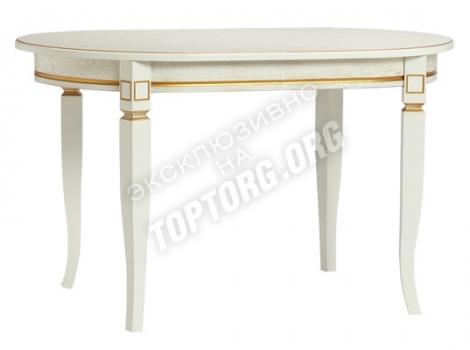 овальный обеденный стол белый с золотой патиной