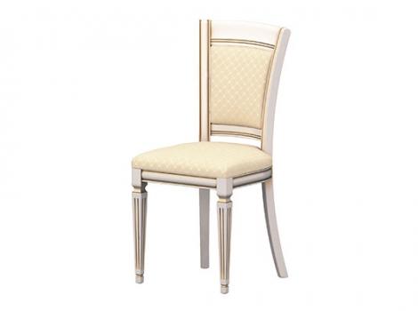 стул для кухни белый с золотой патиной, с мягкой спинкой и сиденьем