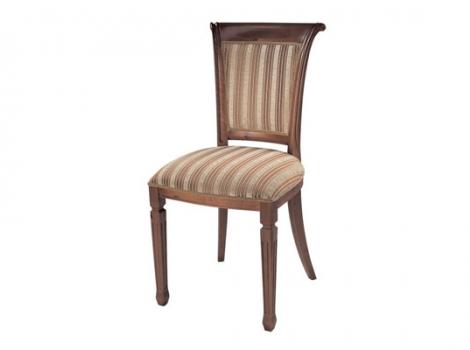 Коричневый стул с обивкой в полоску