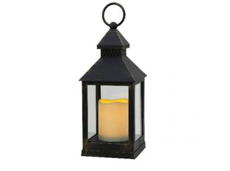 светильник декоративный черный led с таймером 24 см пластик