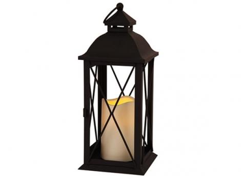 Светильник декоративный черный led с таймером 32 см металл без стекла