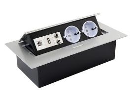 Встраиваемая выдвижная розетка в столешницу GTV AE-PB02GS-53