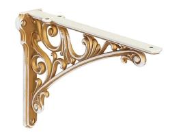 Кронштейн для полки, (250х173) белый с золотой патиной