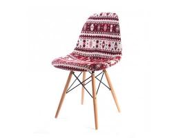 Дизайнерский стул Eames dsw dining chair бордовый рисунок