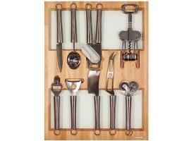 Лоток для столовых приборов 45 см с кухонными приборами (9 предметов), бук