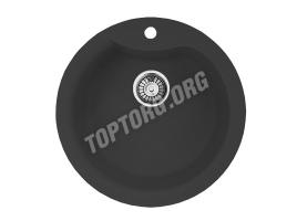 Круглая мойка из искусственного камня, цвет черный металлик (модель 1)