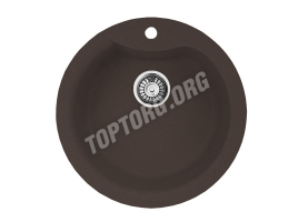 Круглая мойка из искусственного камня, цвет шоколад металлик (модель 1)