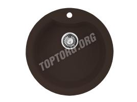 Круглая мойка из искусственного камня, цвет шоколад (модель 1)
