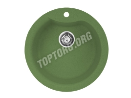 Круглая мойка из искусственного камня, цвет зеленый (модель 1)