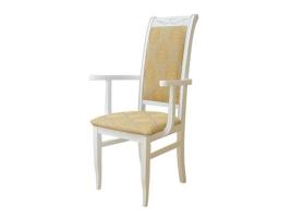Белое высокое обеденное кресло с патиной (Палермо-4)