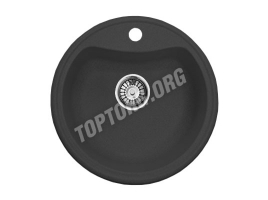 Круглая мойка из искусственного камня, цвет черный металлик (модель 2)