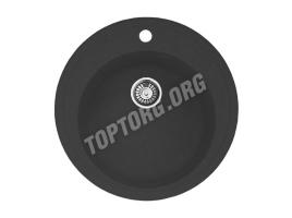 Круглая мойка из искусственного камня, цвет черный металлик (модель 4)