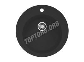 Круглая мойка из искусственного камня, цвет черный (модель 4)