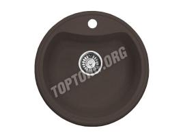 Круглая мойка из искусственного камня, цвет шоколад металлик (модель 2)