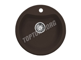 Круглая мойка из искусственного камня, цвет шоколад (модель 2)