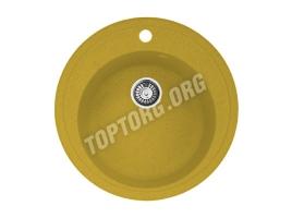 Круглая мойка из искусственного камня, цвет желтый (модель 4)