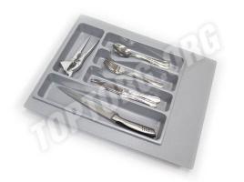 Лоток для столовых приборов в ящик 40 см, пластик серый