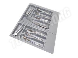 Лоток для столовых приборов в ящик 70 см, пластик серый