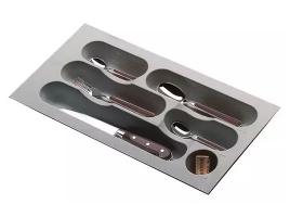 Лоток для столовых приборов в ящик 30 см, пластик серый металлик