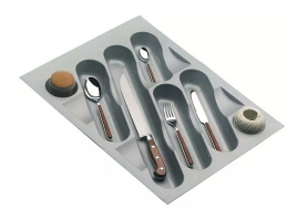 Лоток для столовых приборов в ящик 45 см, пластик серый металлик